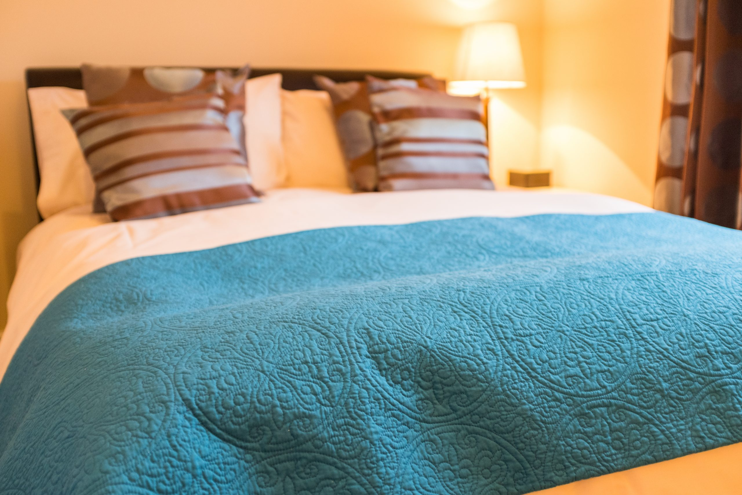 A close up shot of the double bed